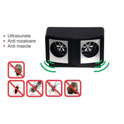 Aparat contra rozatoarelor insectelor cu ultrasunete Dual Sonic Pest Repeller